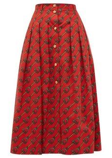 Gucci Panama horsebit-print cotton skirt