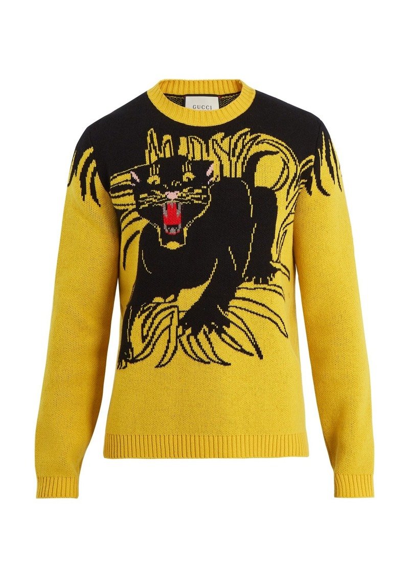 2c96029a1 Gucci Gucci Panther intarsia-knit wool sweater | Sweaters