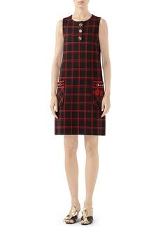Gucci Patch Embellished Check Jacquard Dress