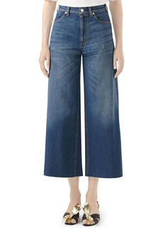 Gucci Patch Embellished Crop Wide Leg Jeans