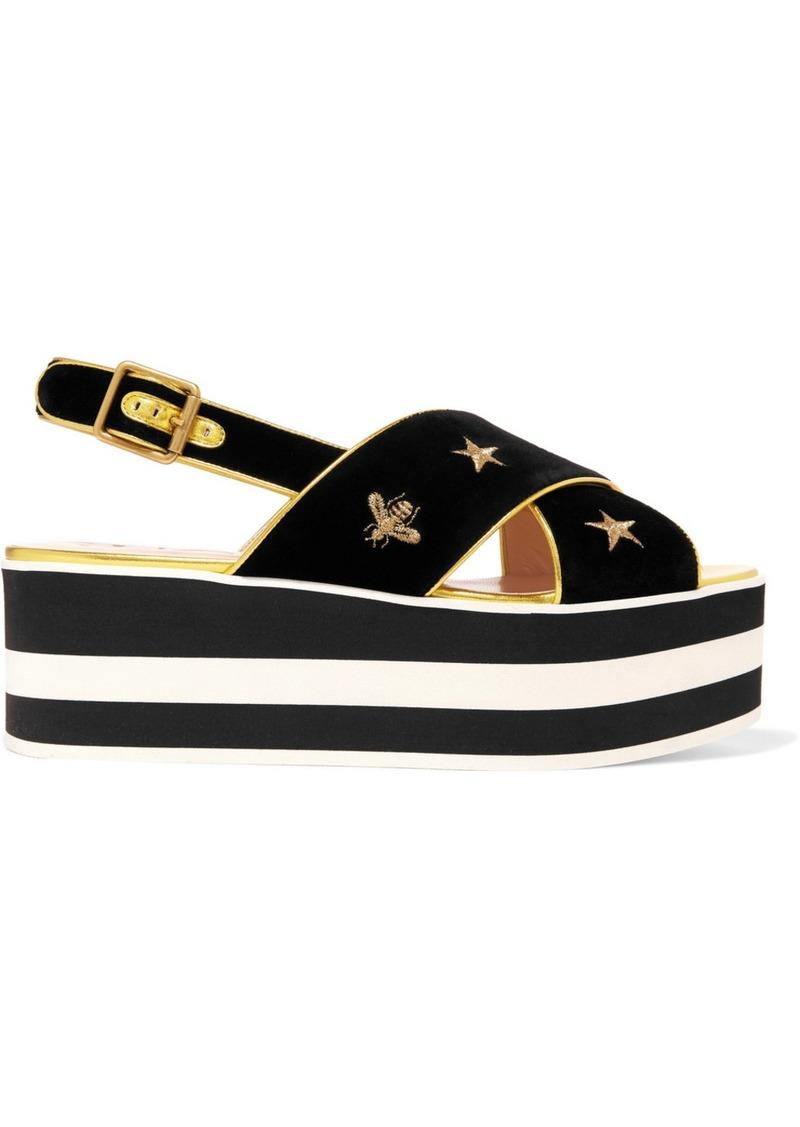 db3dab89b3de Gucci Peggy Leather-trimmed Embroidered Velvet Platform Sandals