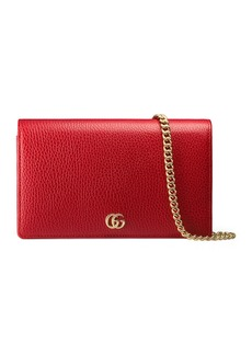 Gucci Petite GG Marmont Leather Flap Wallet on a Chain