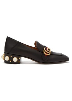 Gucci Peyton faux-pearl embellished leather loafers