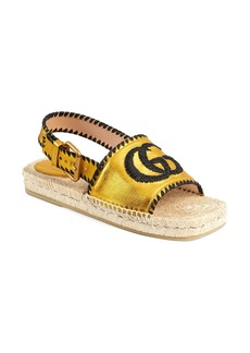 Gucci Pilar Embroidered Double G Logo Slingback Espadrille Sandal (Women)