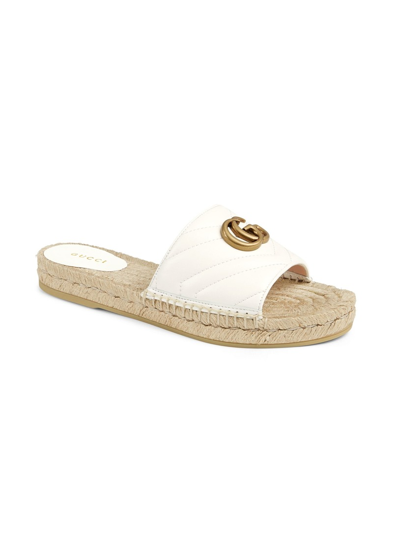 Gucci Pilar GG Matelassé Espadrille Slide Sandal (Women)