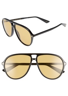 Gucci Pilot 59mm Sunglasses