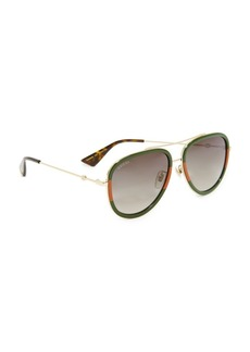Gucci Pilot Urban Web Block Aviator Sunglasses