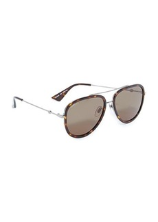 Gucci Pilot Urban Web Block Aviator Sunglasses