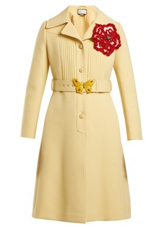 Gucci Pintucked butterfly-embellished belt coat