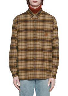 Gucci Plaid Logo Leather Patch Flannel Button-Down Shirt