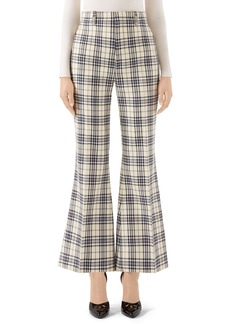 Gucci Plaid Wool Flare Trousers