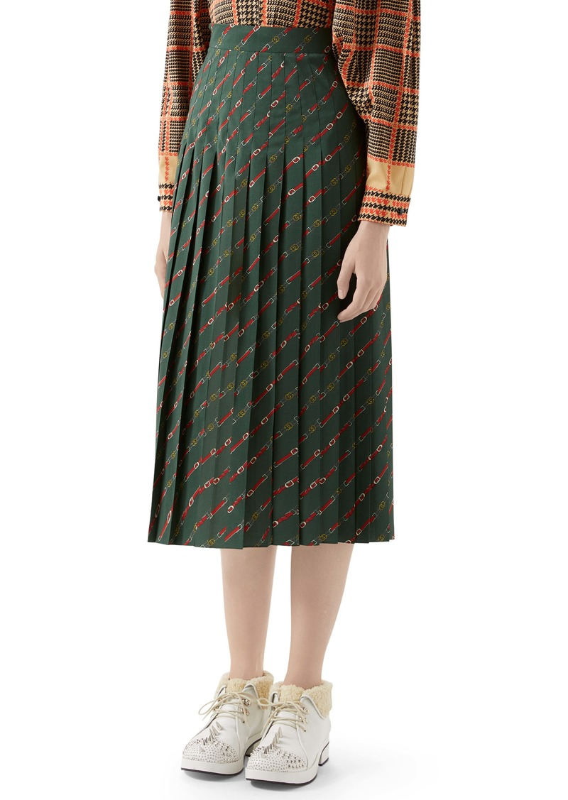 Gucci Pleated Belt Print Wool Midi Skirt