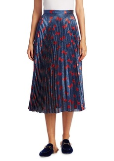 Gucci Pleated Bow-Print Skirt