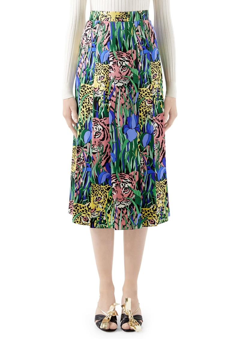 Gucci Pleated Feline Garden Print Silk Twill Skirt