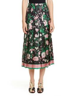 Gucci Pleated Flora Print Silk Twill Skirt