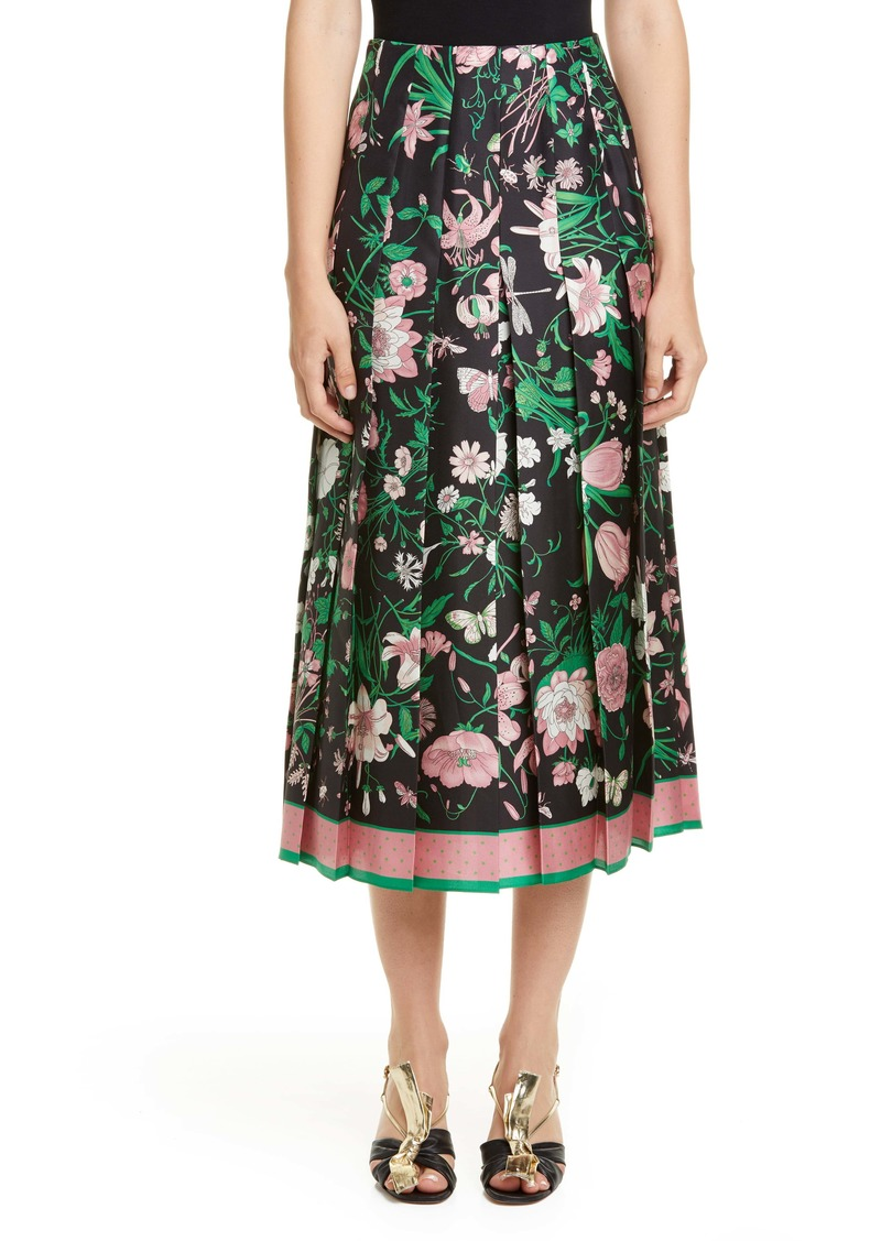 Gucci Pleated Flora Print Silk Twill Skirt
