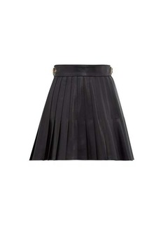 Gucci Pleated leather mini skirt