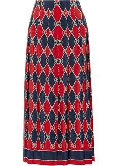 Gucci Pleated Printed Silk Crepe De Chine Midi Skirt