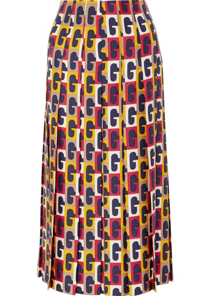 10343a776a752c Gucci Pleated Printed Silk-twill Midi Skirt | Skirts