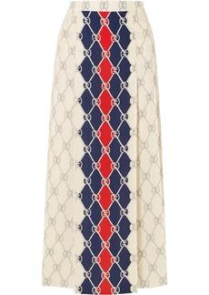 Gucci Pleated Printed Washed-silk Midi Skirt
