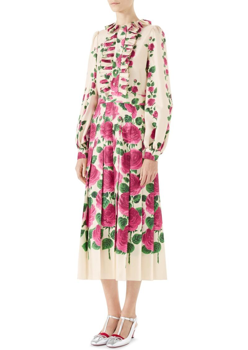 753ef0830 Gucci Gucci Pleated Rose Print Silk Midi Dress | Dresses