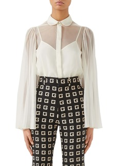 Gucci Pleated Sleeve Silk Blend Organdy Blouse