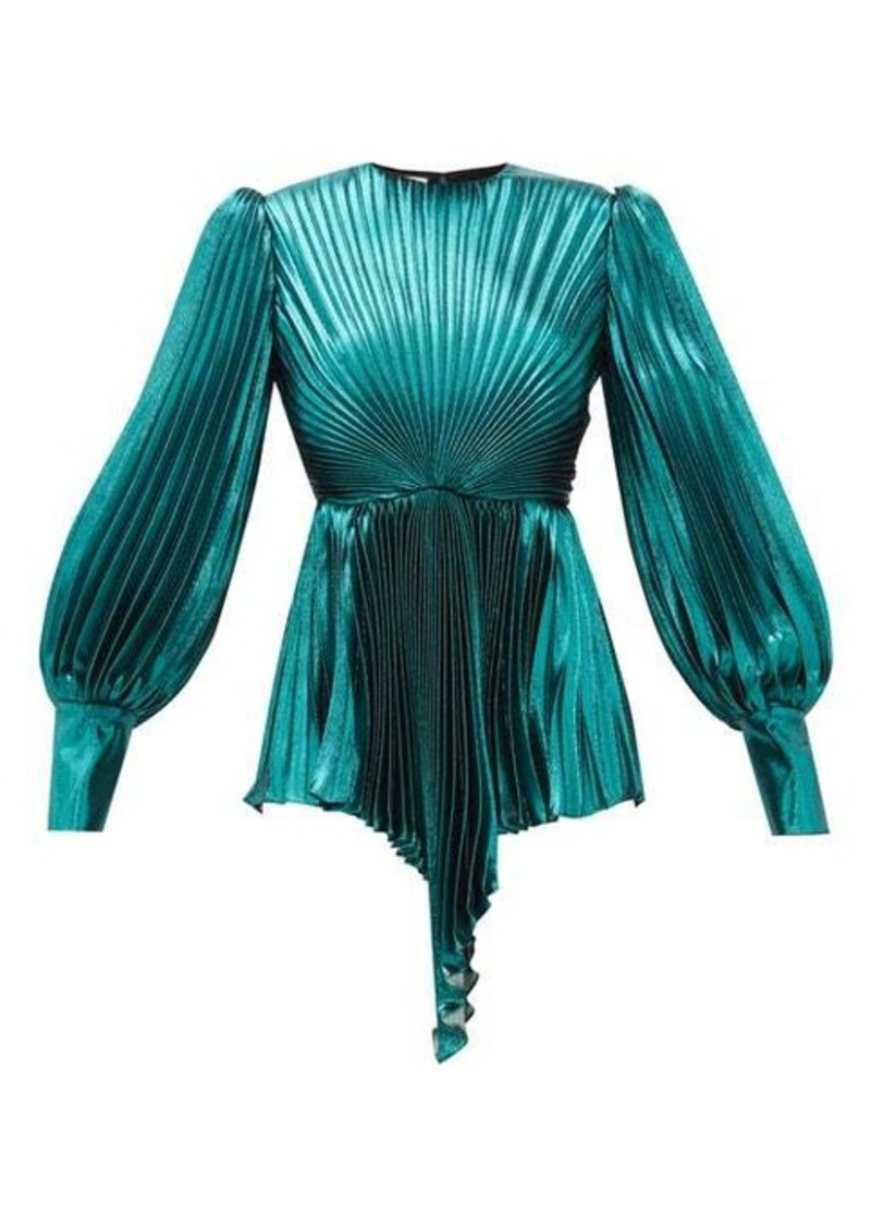 Gucci Plissé metallic silk-blend blouse
