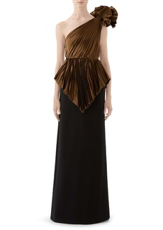 Gucci Plissé One-Shoulder Gown