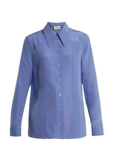 Gucci Point-collar silk crepe de Chine blouse