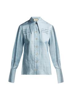 Gucci Point-collar silk-dupion shirt
