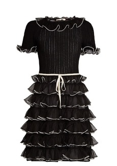 Gucci Pointelle-knit short-sleeved ruffled silk dress