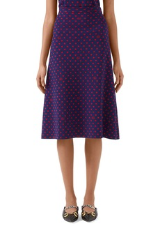 Gucci Polka Dot & Double G Logo Wool Blend Skirt