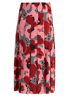 Gucci Poppy-print pleated silk crepe de Chine skirt
