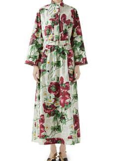 Gucci Poppy Print Poplin Long Sleeve Maxi Shirtdress