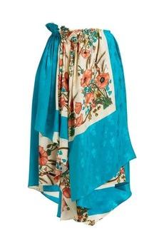 Gucci Poppy-print silk-jacquard wrap skirt