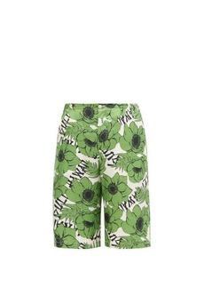 Gucci Poppy-print silk shorts