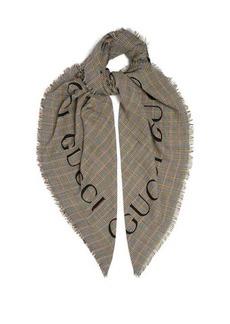 Gucci Prince of Wales check logo-intarisa scarf