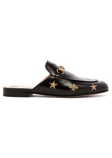 Gucci Princetown backless embroidered leather loafers