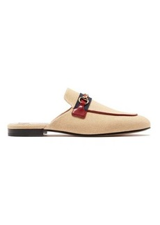 Gucci Princetown canvas & leather backless loafers
