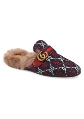 Gucci Princetown Double G Loafer Mule with Genuine Shearling (Men)