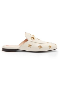 b7311dfbd229 Gucci Princetown embroidered leather backless loafers