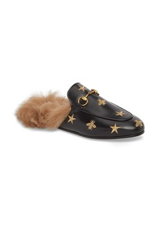 Gucci Princetown Genuine Shearling Bee Loafer Mule (Women)