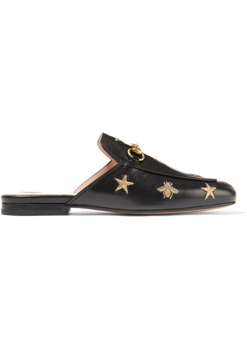9f03cff4389 Gucci Princetown Horsebit-detailed Embroidered Leather Slippers