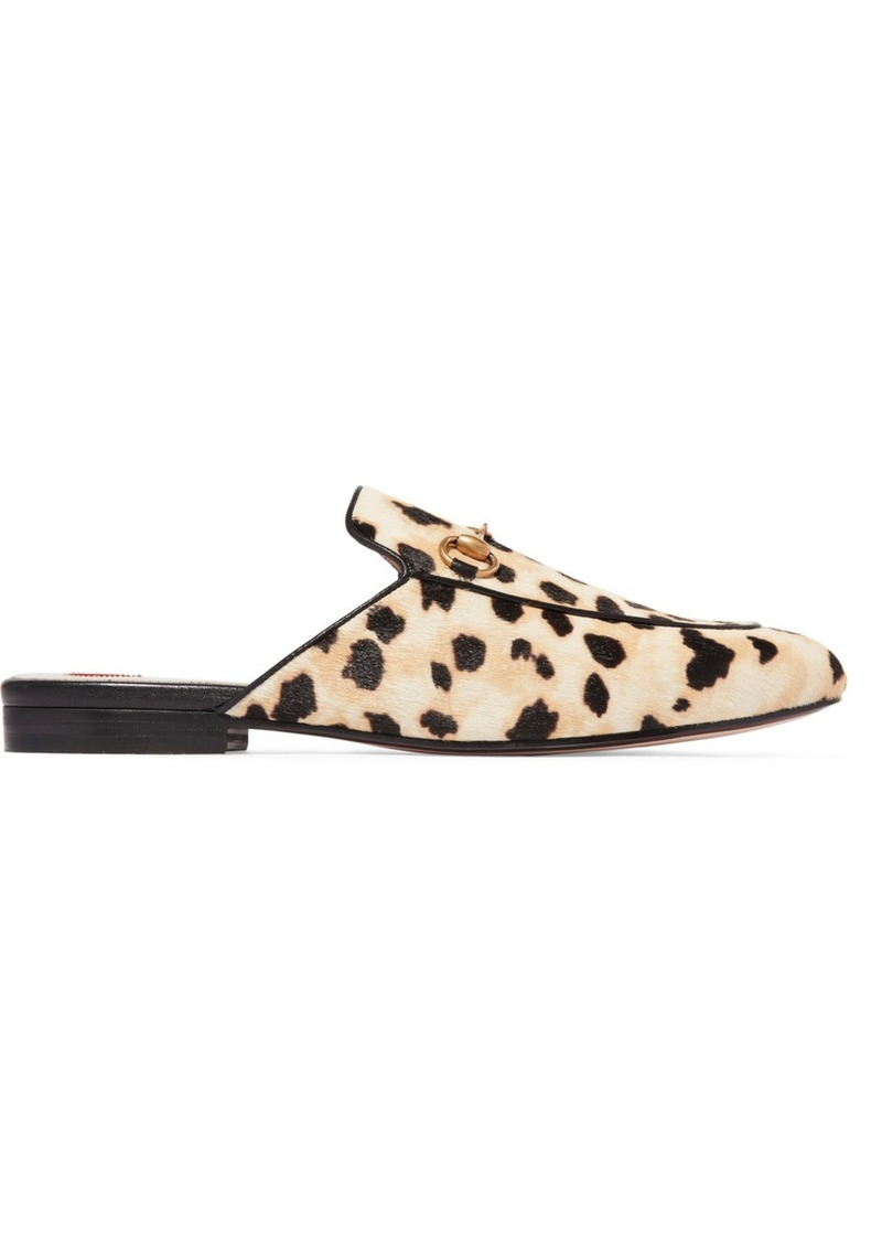 27f3cb0d0a0a Gucci Princetown horsebit-detailed leopard-print calf hair slippers ...