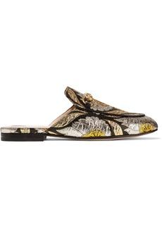 Gucci Princetown horsebit-detailed metallic floral-jacquard slippers