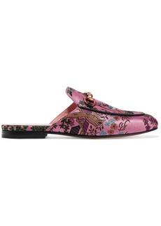 Gucci Princetown horsebit-detailed metallic jacquard slippers