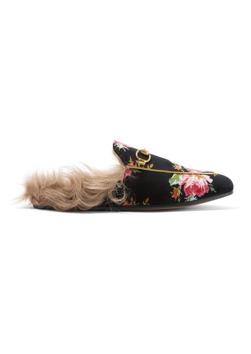 ae039963ae0 Gucci Princetown Horsebit-detailed Shearling-lined Floral-print Velvet  Slippers