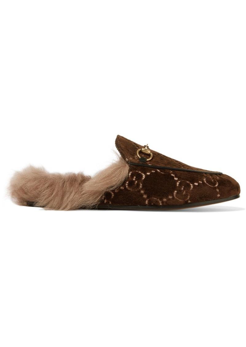 69b01b519e8 Gucci Princetown Horsebit-detailed Shearling-lined Logo-jacquard Slippers