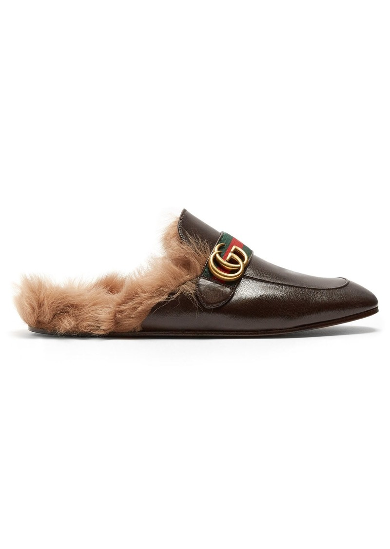 b214f15e54093 Gucci Gucci Princetown shearling-lined leather loafers