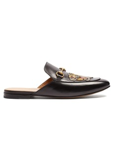 Gucci Princetown tiger-appliqué leather backless loafers